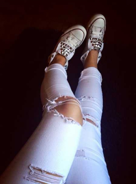 anerkannte Marken gutes Geschäft gemütlich frisch Bershka Destroyed Ripped Jeans Weiß
