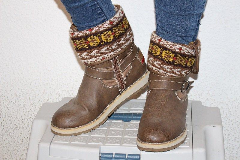 size 40 78203 ca56e Braune Stiefel im Norwegermuster, Boots, s.Oliver, Herbst, Winter,  Stiefeletten, beige, gefüttert, Fell, Muster