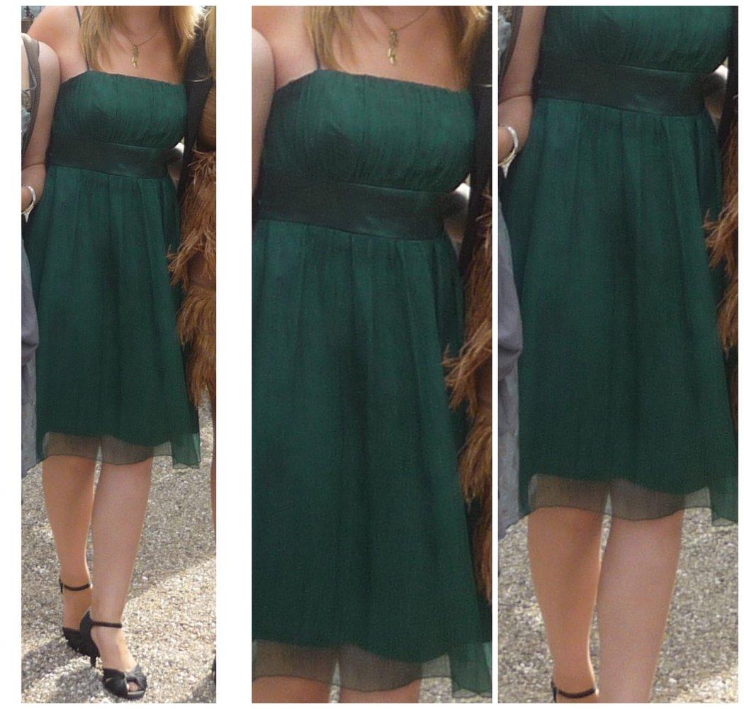 Smaragdgrünes knielanges Chiffon-Kleid von Zero