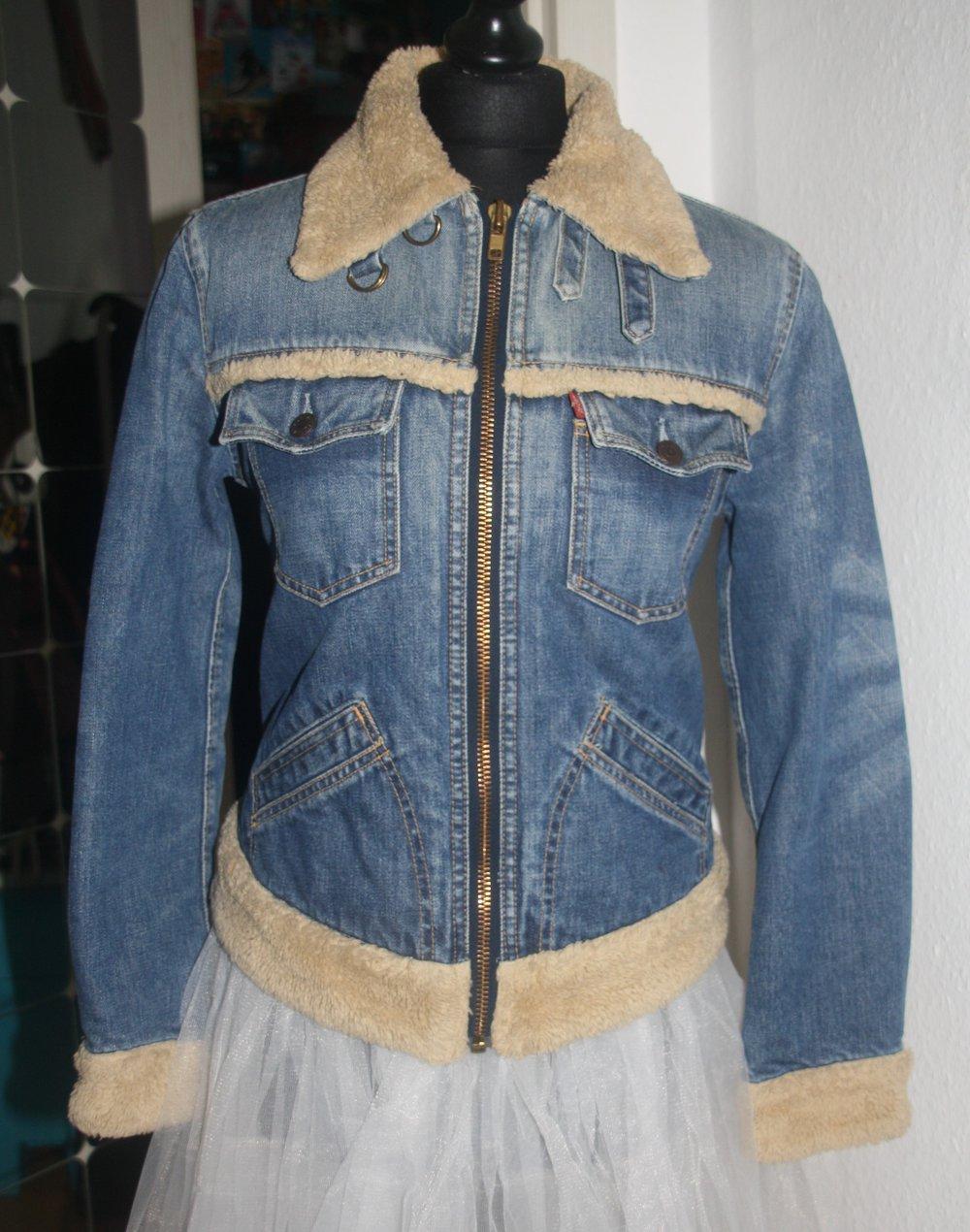 new arrival f57bb 99ed7 Levis Jeans Jacke gefüttert Teddy Fell Gr. S blau Übergangsjacke