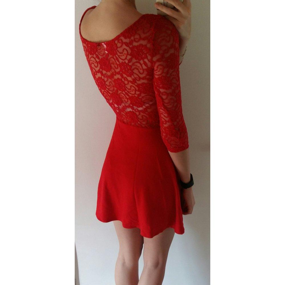 487ca3b076648c Kleid Minikleid Skaterkleid Spitze Rot