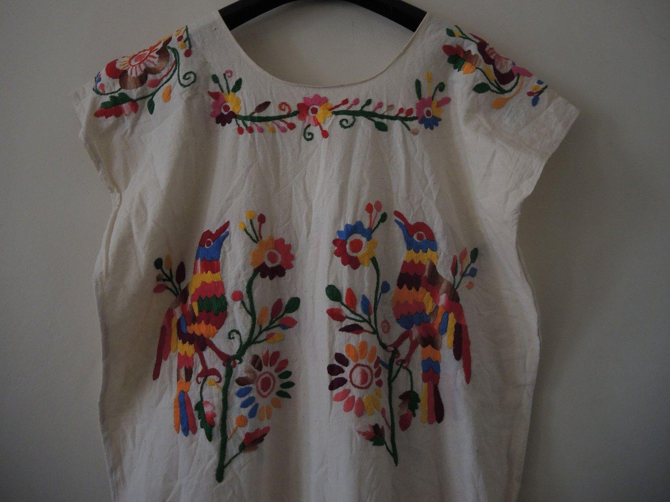 promo code 59fa9 ec29b Opulent besticktes mexikanisches Oaxacan Huipil Vintage Folklore Maxi Kleid  Unikat Boho Ethno Festival Coachella