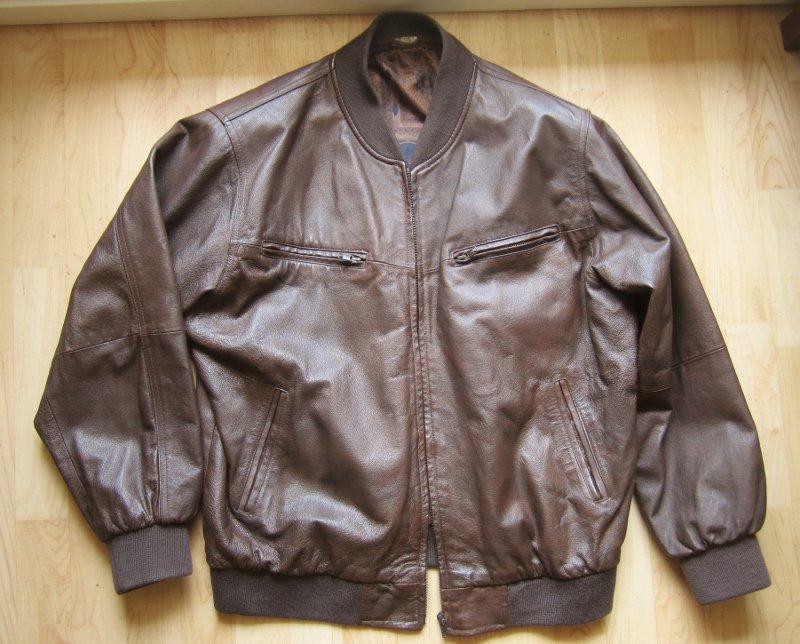 newest 0ed0f 64f23 Braune / dunkelbraune Lederjacke, echt Leder, Bomber-Jacke, Damen 42/44  Herren S/M