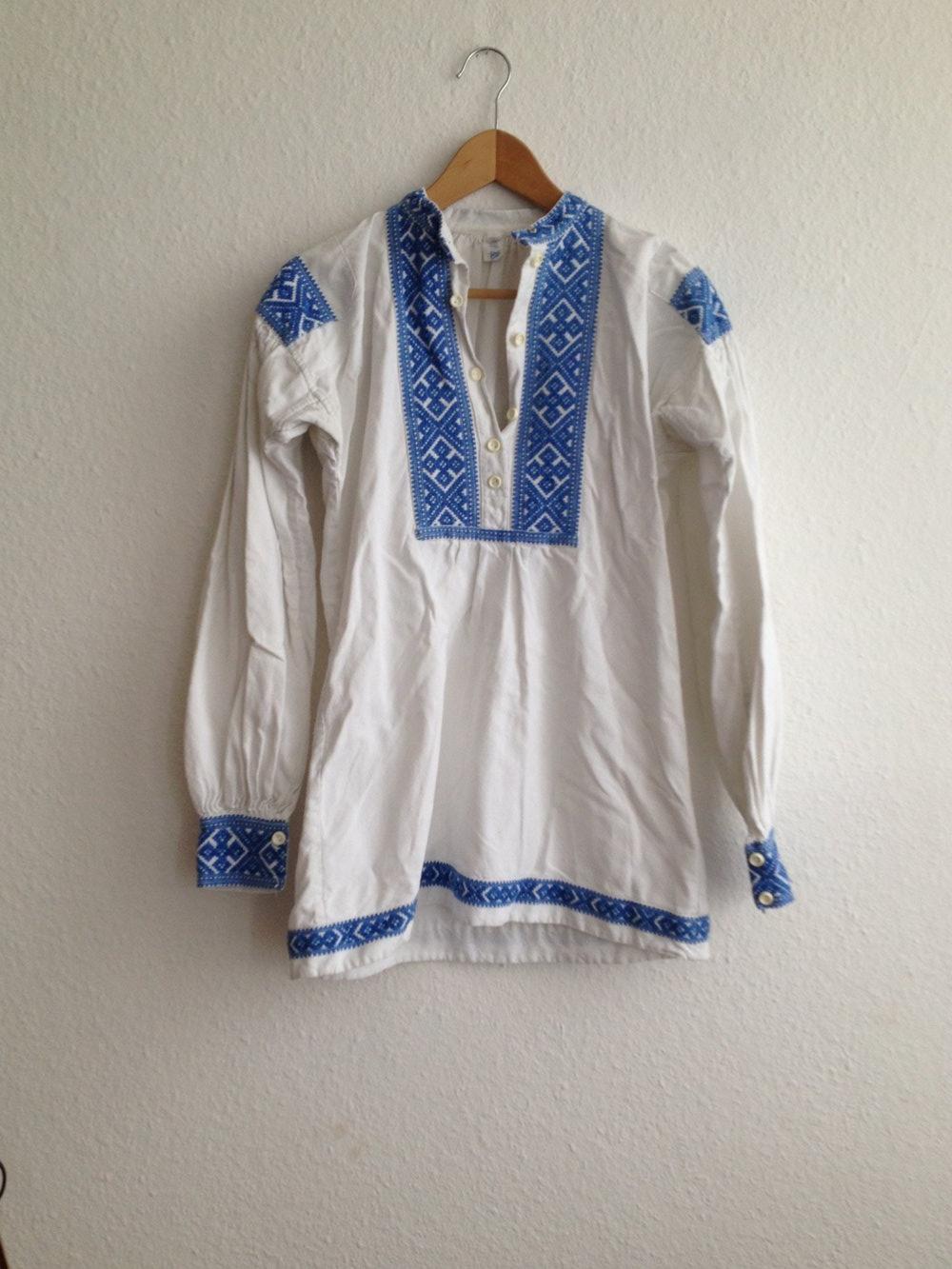 ganz nett Geschäft moderate Kosten Original Vintage Tunika Tunika Kleid Strandkleid Blau Weiß Stickerei Hippie  Folklore Ethno Boho Blogger Festival Surf