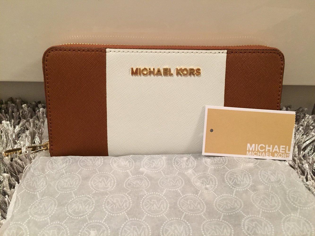 65dca970833be ... Michael Kors portemonnaie Geldbörse braun weiß Jet set continental  original neu .