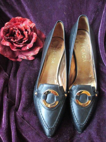 6c99996762cf0 NEUw Echt Leder High- Heels PUMPS Schuhe 'ESCADA' Original Gr. 37/ 4  dunkel- blau gold