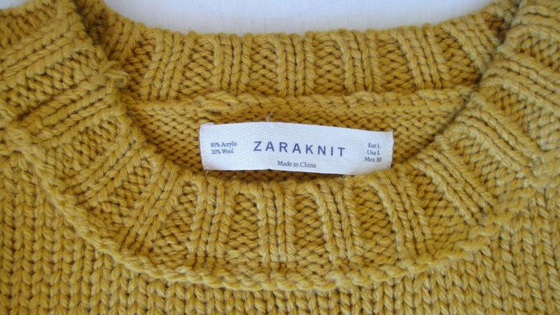 Pullover von ZARA, gelber Pulli, Oversize Strickpullover, Strickpulli