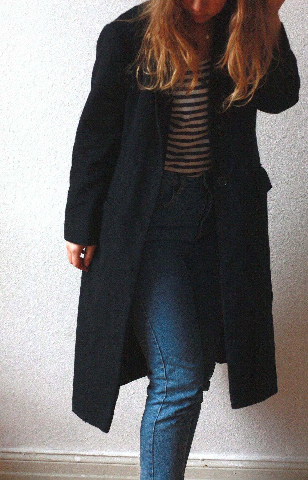 heiß-verkaufendes echtes am modischsten heiß-verkaufender Beamter Langer Mantel Zara M 38 40 Dunkelblau Blau Marine Blogger Wollmantel  Wintermantel