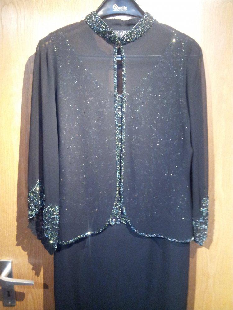 496de0ef4b163e ... Schwarzes Abendkleid mit Bolero, mit Glasperlen bestickt Gr. 40 ...