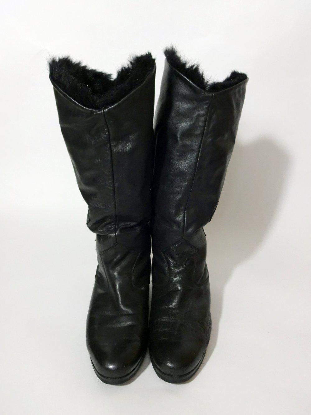 40 Gr6 Boots Gefütterte Stiefel Schwarze Winter Slouch Kunstfell Leder 12 Teddyfutter eH9IWYbE2D
