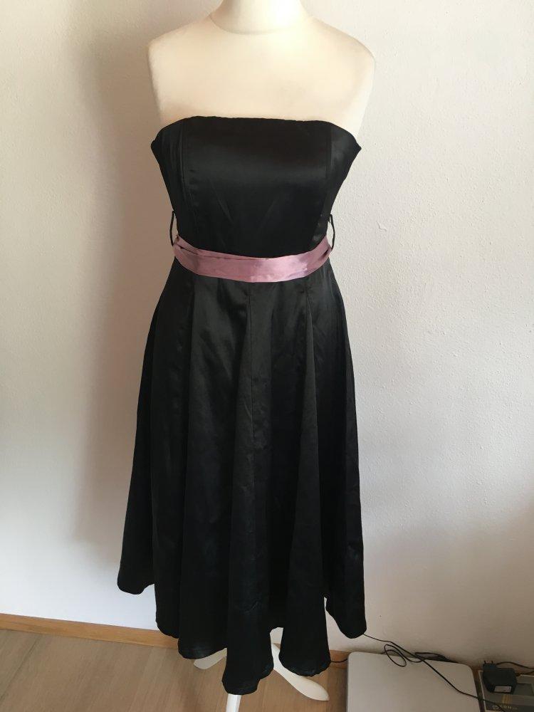 78c4cebe782f3d ... Kleid Abendkleid Bandeau schwarz mit flieder Gürtel Gr. 36 .