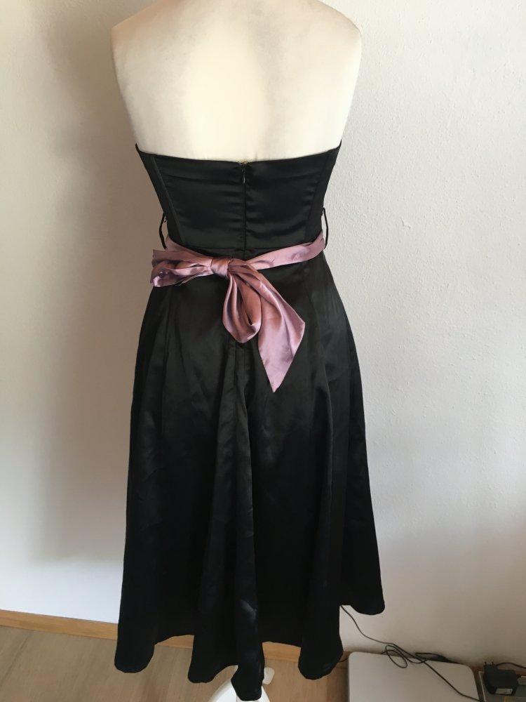 329b9c0b389ada ... Kleid Abendkleid Bandeau schwarz mit flieder Gürtel Gr. 36 ...