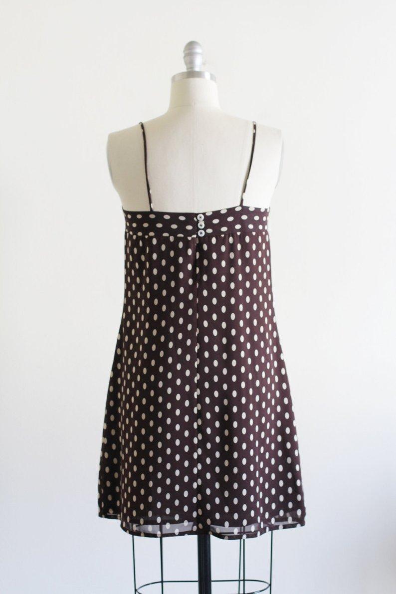 1990er Original Vintage Esprit de Corp Mini Kleid, Gr. 34 36, Spaghettiträger, braun weiß getupft!