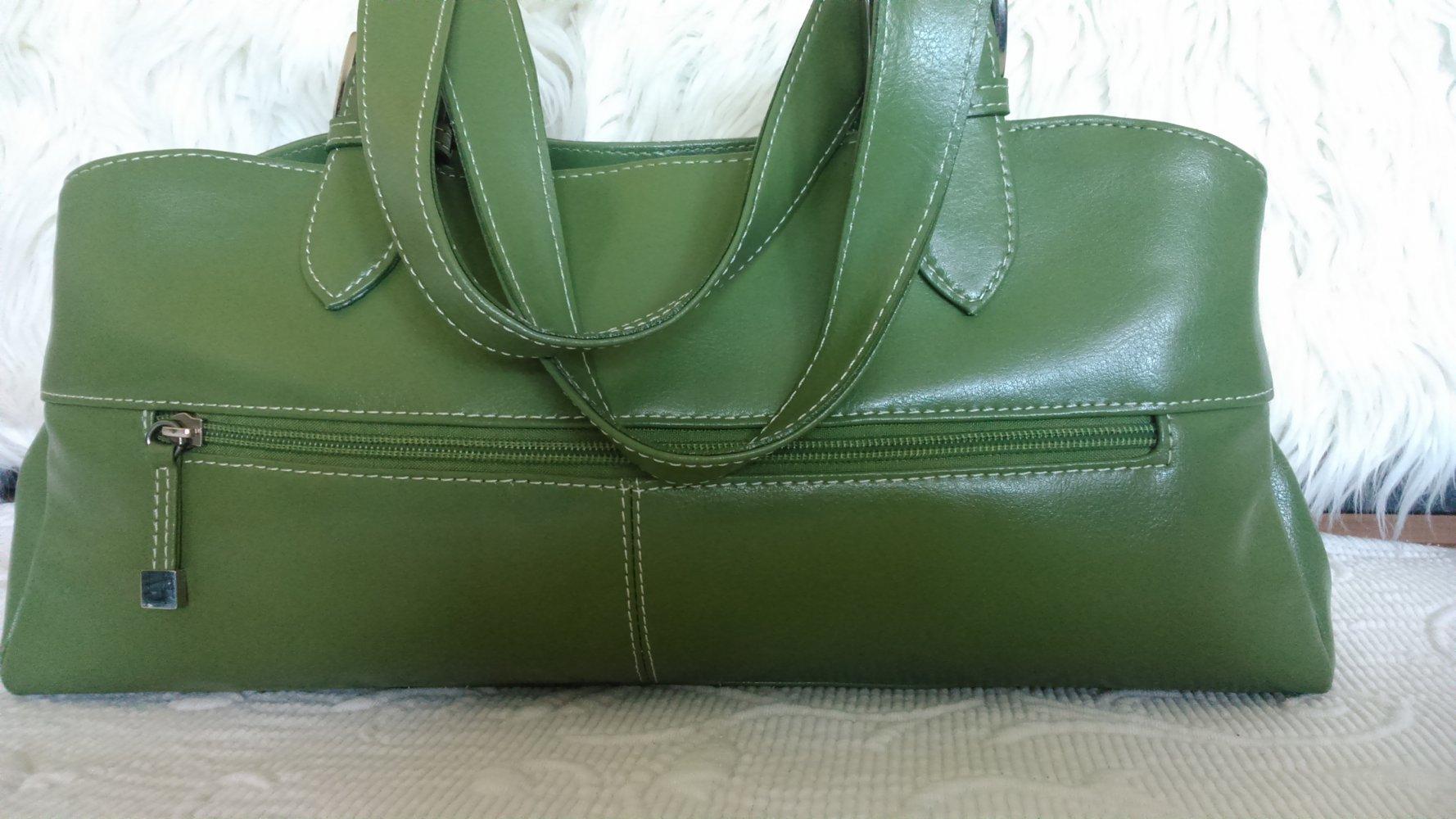 bd2cdf7420de4d L. CREDI wunderschöne Damen - Handtasche grün DIE Herbstfarbe ! wie neu !