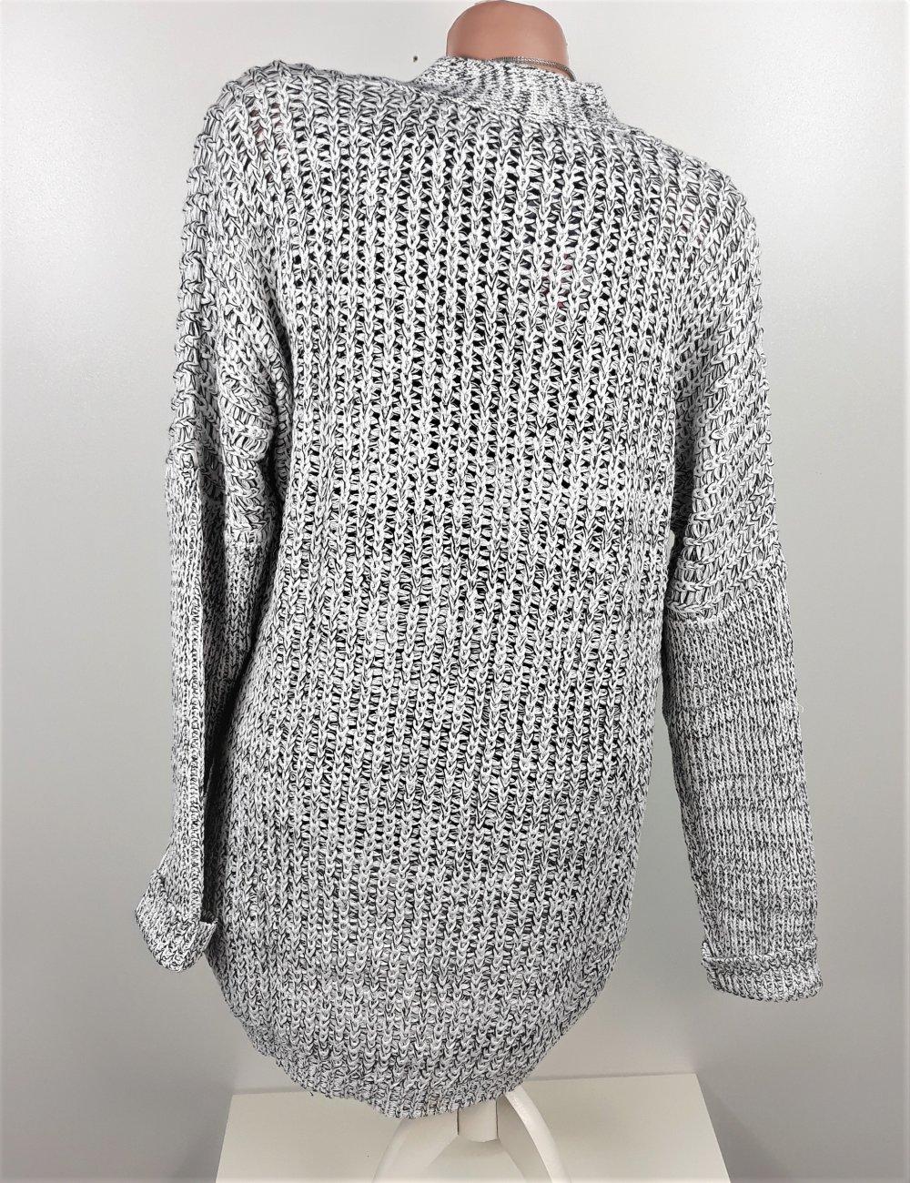 ac5ad35f474139 ... Strickjacke Cardigan Grobstrick Jacke Oversize grau meliert Größe 40 42  ...
