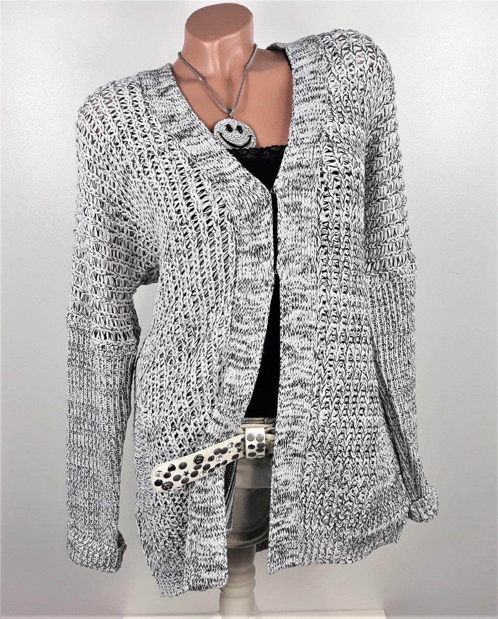 329809f9e1592d ... Strickjacke Cardigan Grobstrick Jacke Oversize grau meliert Größe 40 42  .