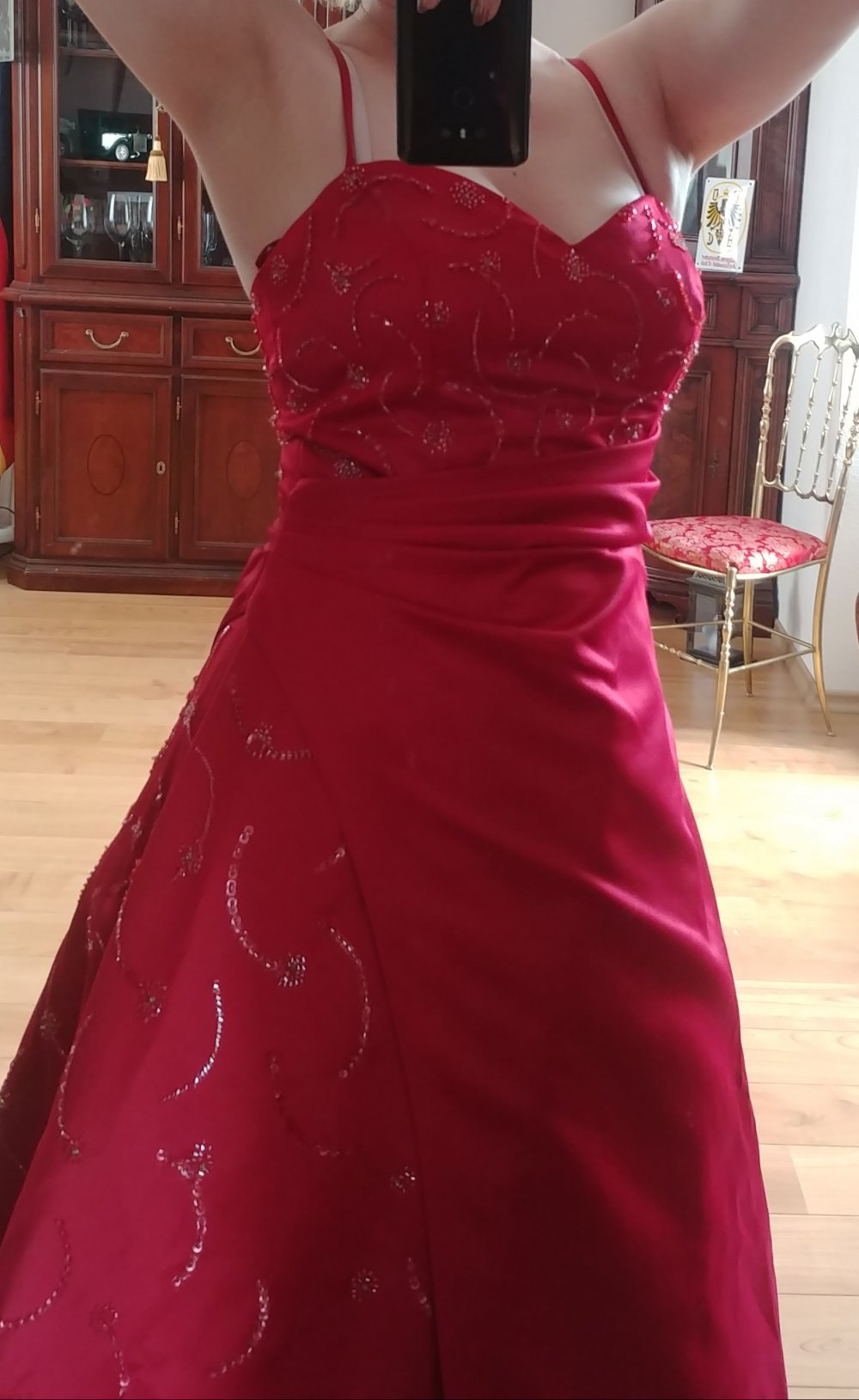 Hochzeitskleid Ballkleid Rot Weinrot Bordeaux Gr.17