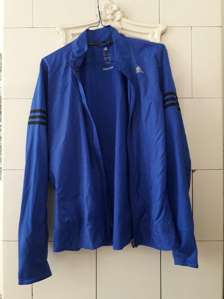 Adidas Jacke Running Response blau Sportjacke leicht dünn Streifen