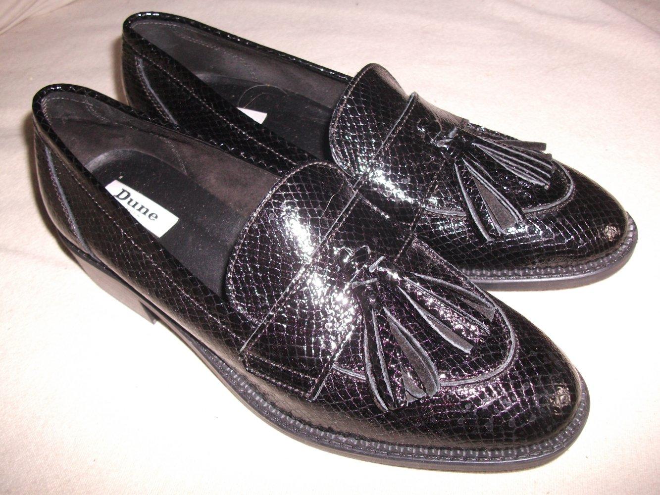 sports shoes 90c52 a0fed College-Schuhe Slipper Loafer Gr. 41 von DUNE Leder, schwarz, leicht  glänzend, Schlangen-Prägung