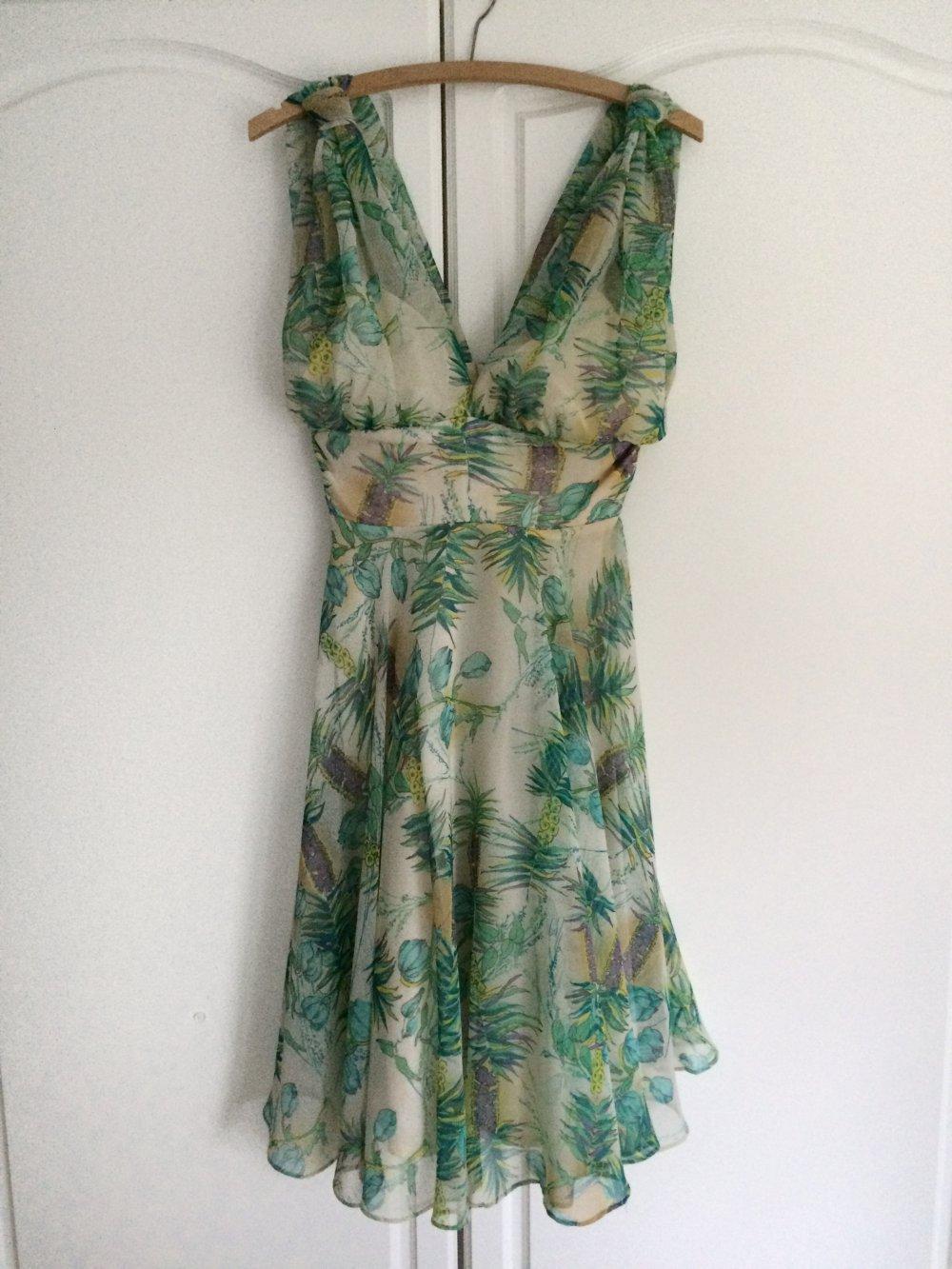 Original Vintage Neckholder Kleid Chiffon Blumen Floral ...