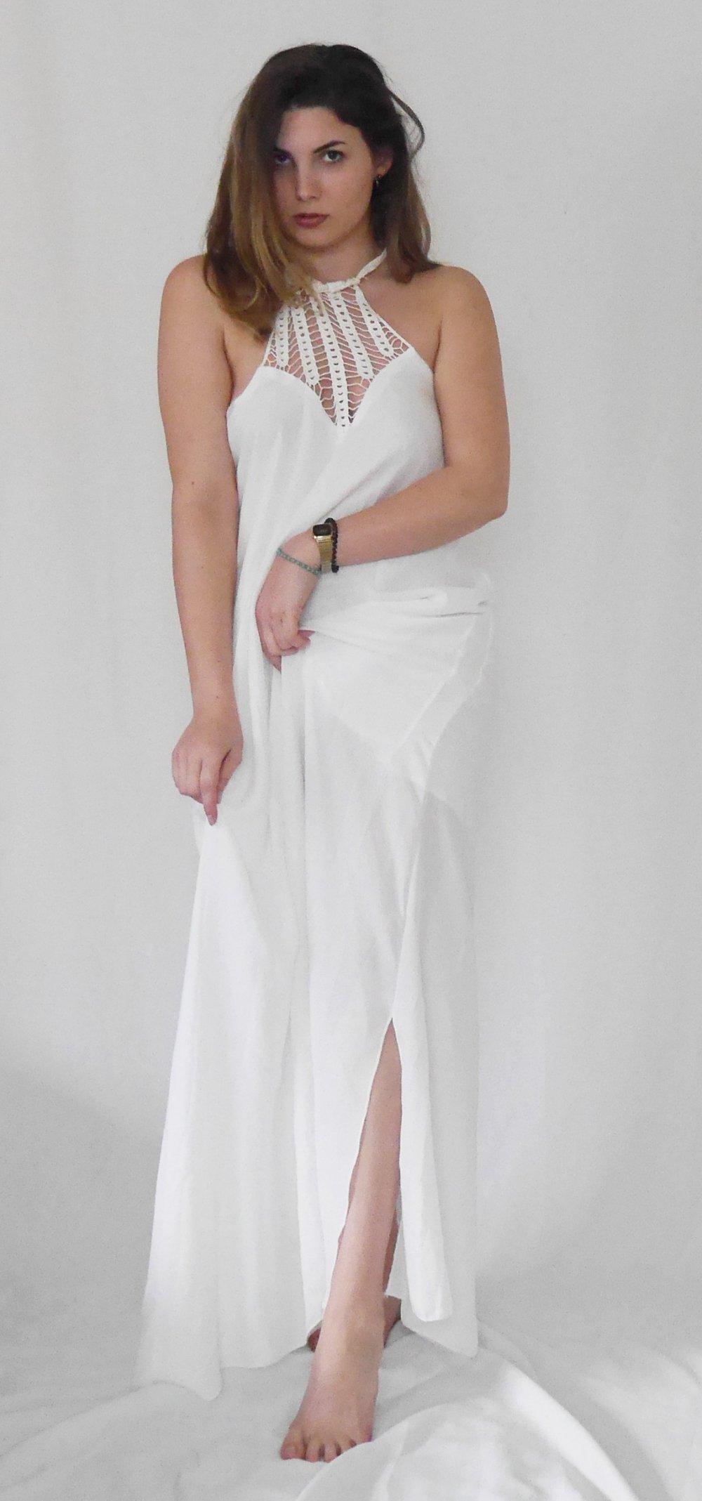 newest 6af4e 52e45 weißes langes Kleid mit Häkeleinsatz