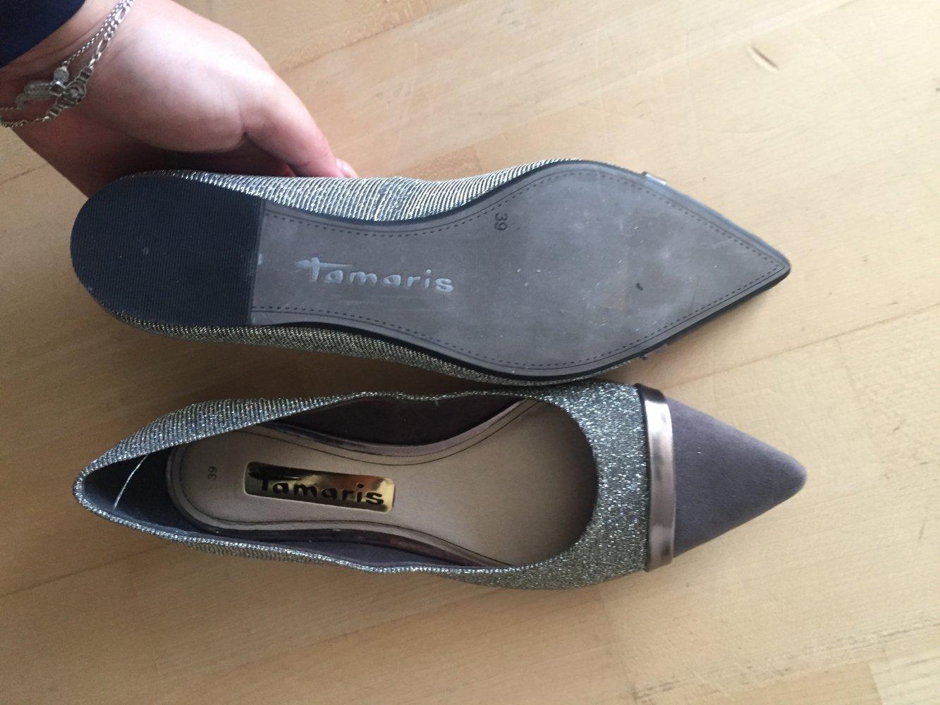 gut aussehen Schuhe verkaufen begrenzter Preis glatt Silbern glitzernde Ballerinas von Tamaris