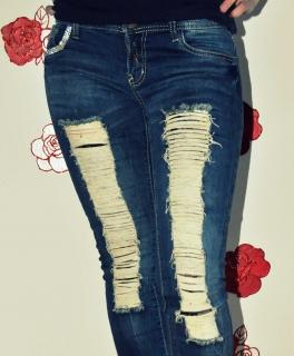 Ocassion Jeans 2-Teiler Bustiertop Röhrenjeans Spitze Risse Pailletten Blau XS-M